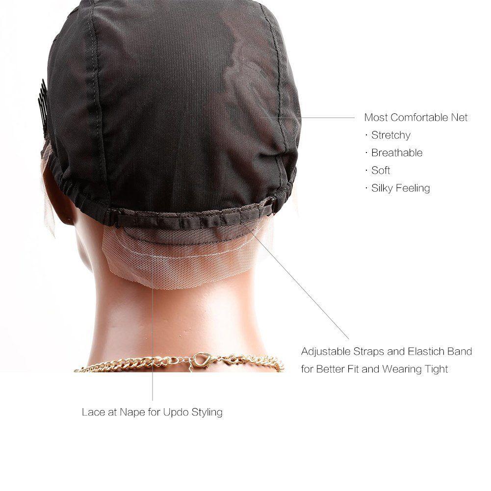 Bella Hair® Lace Front WiG Caps Professional с регулируемыми ремнями и расчески, швейцарские кружевные черные темно-коричневые фиолетовые S M l