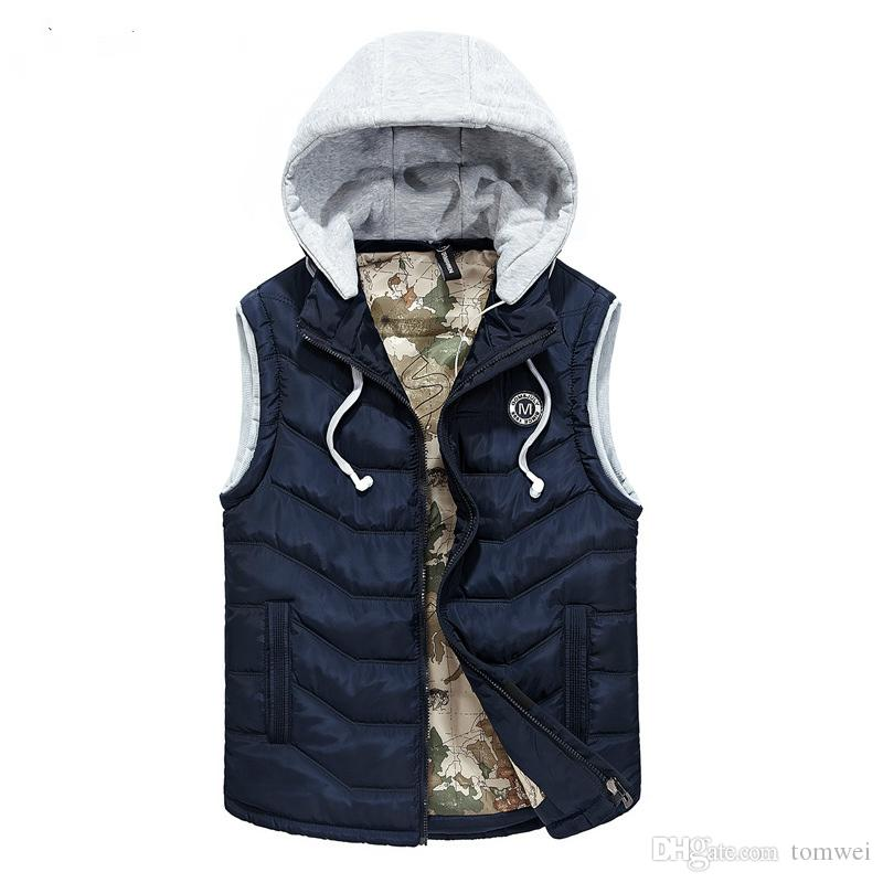 12d52b865069 2019 Down Vest Men Winter Waistcoat Vest Hood Autumn Coat Slim Fit Jacket  Sleeveless Cotton Padded L XL XXL XXXL Large Size From Tomwei