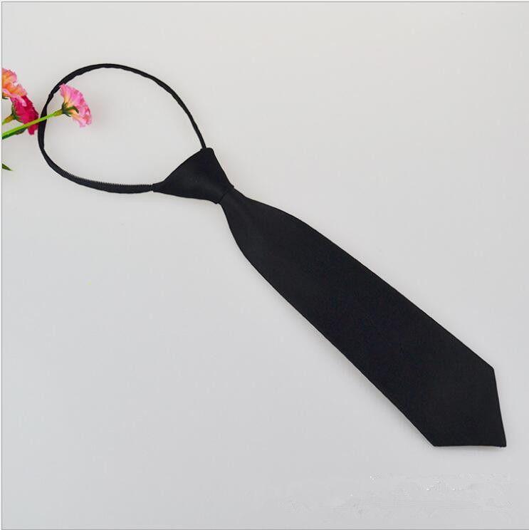 Facile à tirer cravate des enfants 28CM monochrome fermeture à glissière cravate paresseux usine directe en gros personnalisé cravates