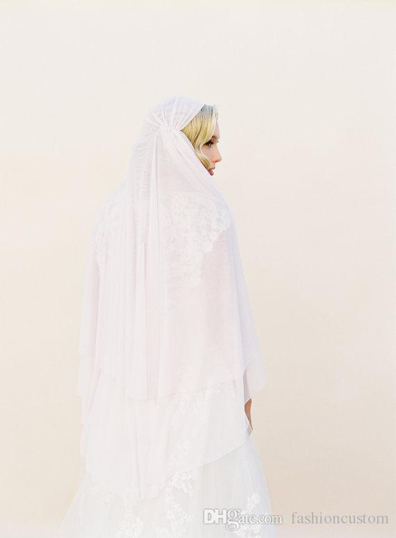 Juliet style cap Wedding Veil White Ivory Champagne two layer Bridal Veil knee Length cut edge