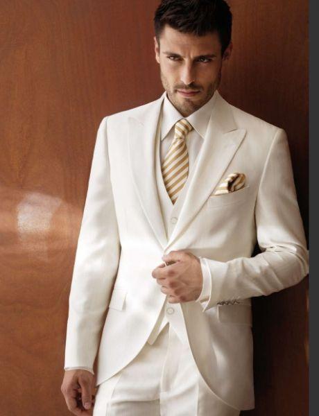 2018 Wholesale White Ivory Wedding Suits For Men Tuxedos Peaked Lapel Groomsmen Mens Slim Fit New Jacket Vest Pants Tie From Genguo