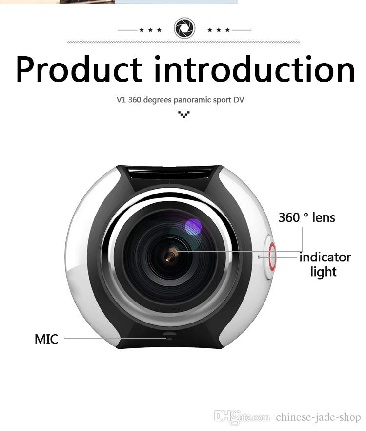 V1 4K VR 360 Degree Action Camera Wifi Mini 2448*2448 16MP Ultra HD Panorama Camera 3D Waterproof VR Camera