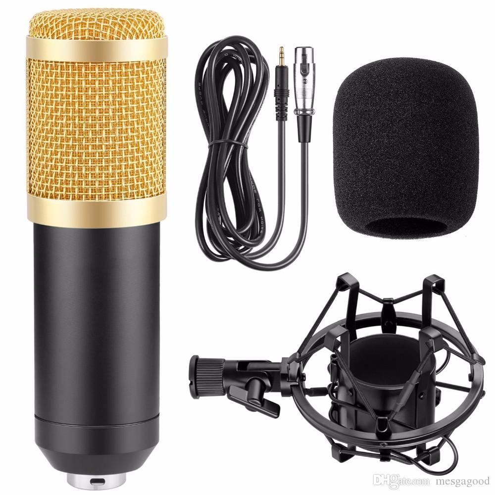 Toptan Yeni BM-800 Kondenser Mikrofon Ses Kaydı mikrofonun ile Şok Dağı Radyo Braodcasting Mikrofon İçin Masaüstü PC bm800