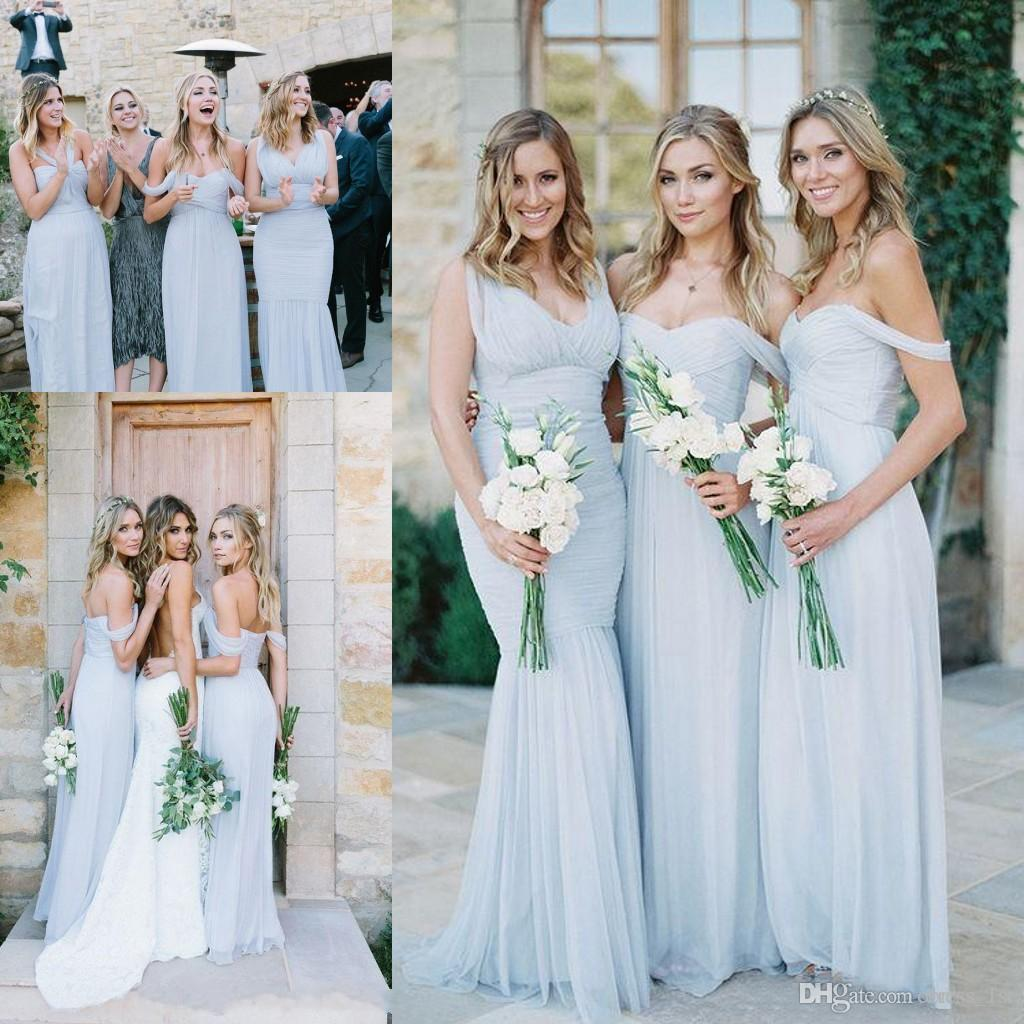 Latest 2017 light blue chiffon halter off shoulder v neck latest 2017 light blue chiffon halter off shoulder v neck bridesmaid dresses long cheap pleats floor length maid of honor gowns en12238 silk bridesmaid ombrellifo Image collections