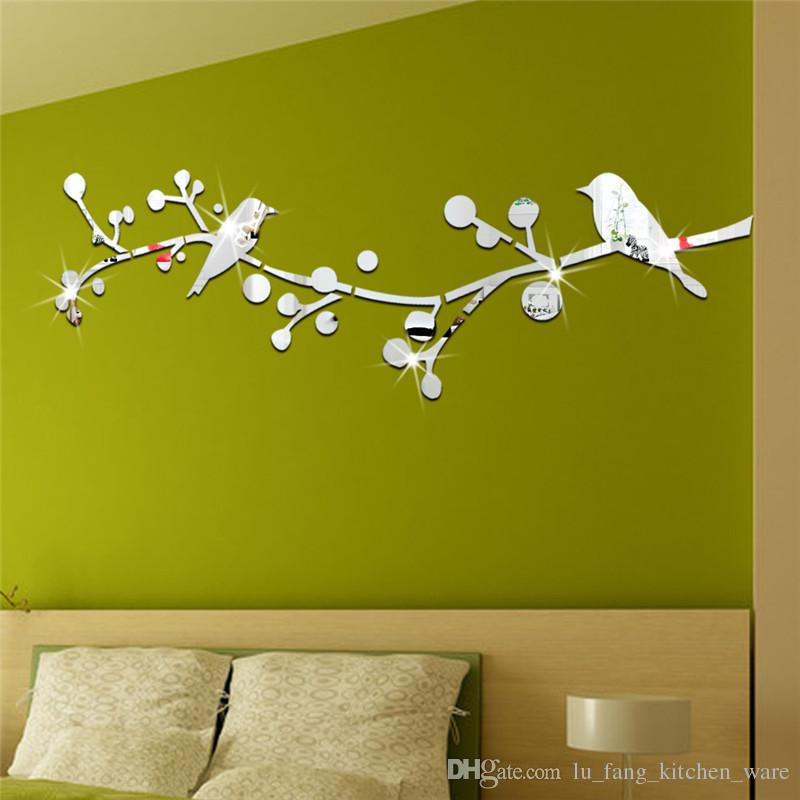3D mirror wall stickers kids Branches cute bird Creative Home Decor DIY Removable silver Decoration Sticker 2017 wholesale Free delivery