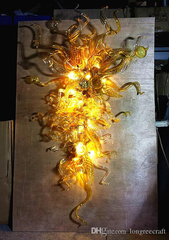 Hot Sale Modern Wall Flower Amber Lamps LED Light Style Chandeliers Murano Glass Hand Blown Glass Chandelier Lightings