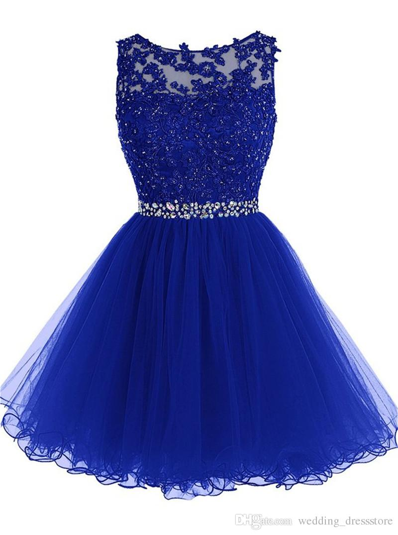 Cheap Dress for Graduation 2016 Fast Delivery Prom Dresses Short Royal Blue Backless Evening Dress