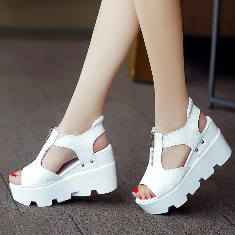 f1df9250a Women New Fashion Korean Style Thick Bottomed Fish Mouth 9 CM High Heeled  Sandals Platform Shoes Student Shoes For Girls Birkenstock Sandals Shoes  For Women ...