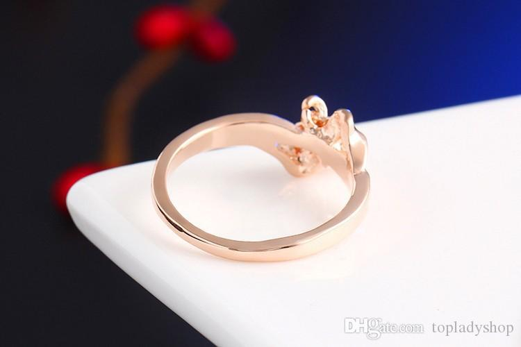Love Heart bow ring Real gold bridal jewelry new style love you mark wholesale