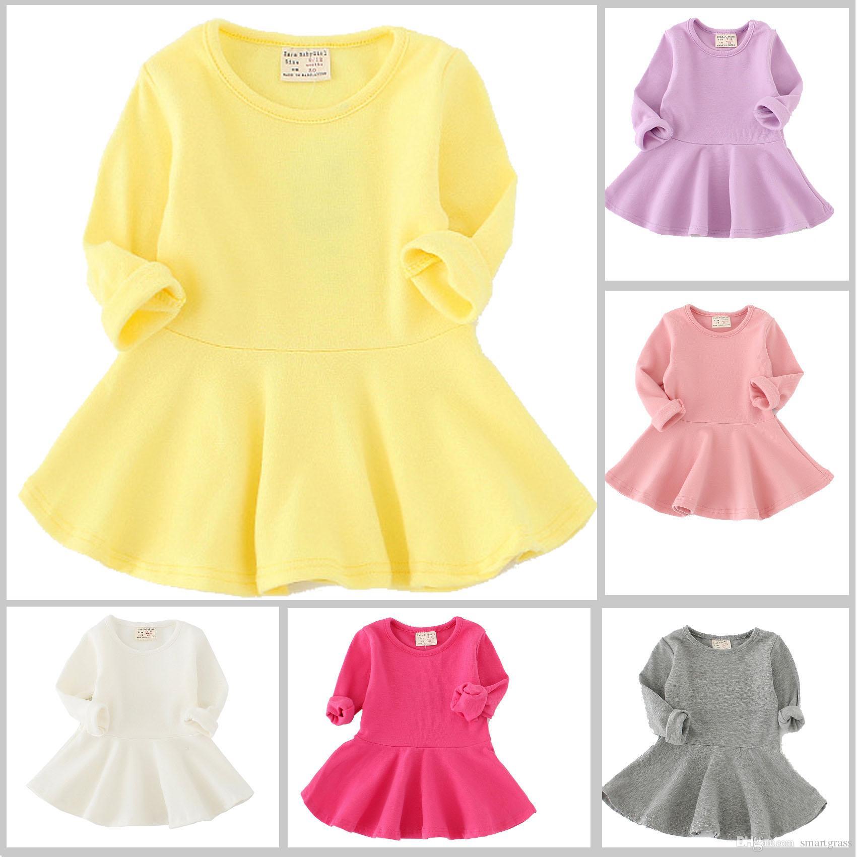 Autumn Girls Casual Dresses Cotton Long Sleeve Dress Ruffled Baby