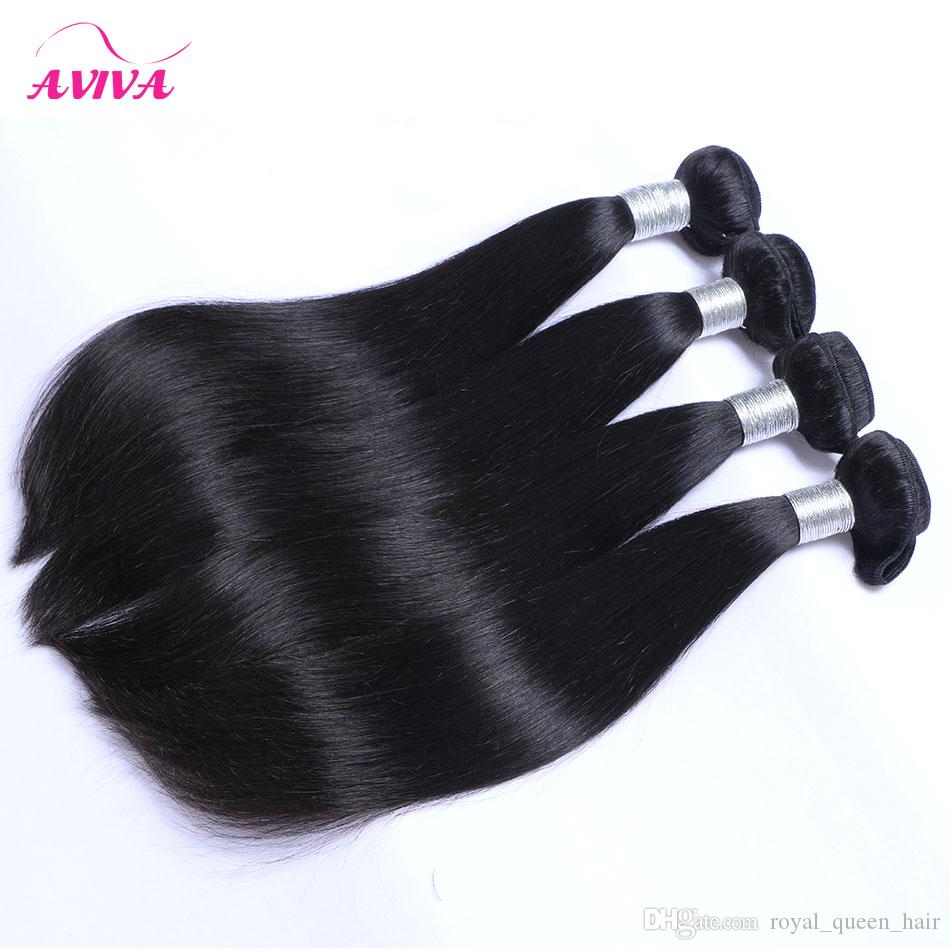8A Brazilian Straight Virgin Hair Weaves 3 Bundles With Ear to Ear Lace Frontal Closures Peruvian Indian Malaysian Cambodian Remy Human Hair