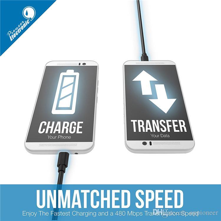 قسط 2A عالية السرعة كابل مايكرو USB Type C الكابلات باورلاين 4 أطوال 1M 1.5 M 2M 3M مزامنة سريعة الشحن USB 2.0 ملاحظة 10 الذكية الروبوت
