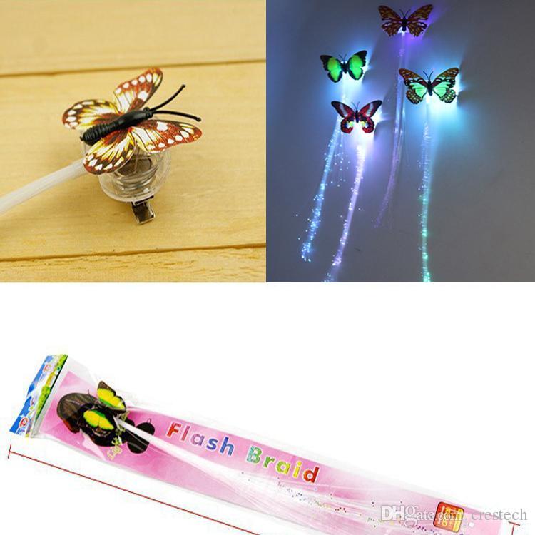 Schmetterling Flash Haar LED Braid Frauen Bunte Leucht Haarspangen Faser Haarnadel Leuchten Party Halloween Nacht Weihnachten Decor Knopfbatterie