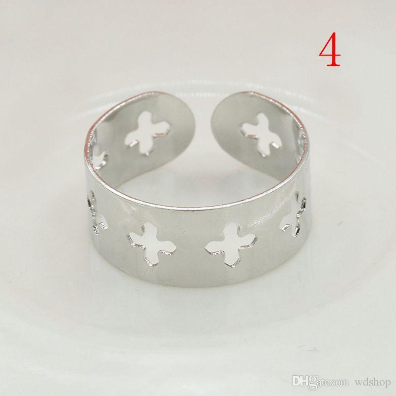 Fashion Silver Loving Heart Pentagram anillo cruzado para las mujeres anillos de nudillos abiertos de oro del banquete de boda anillos de dedo