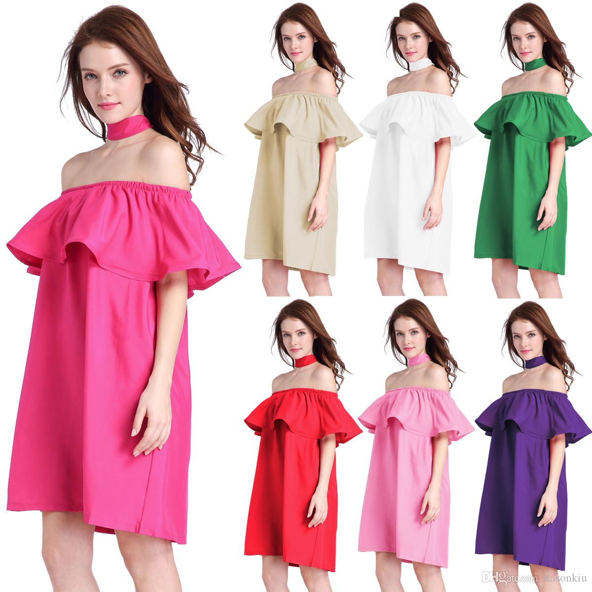 1470249adc6 Simple Dresses For Women Ruffles Slash Neck Women Dress Summer Style Off  Shoulder Cotton Sexy Dresses Vestidos Beach Dress Hot Casual Dress Dress  Style ...