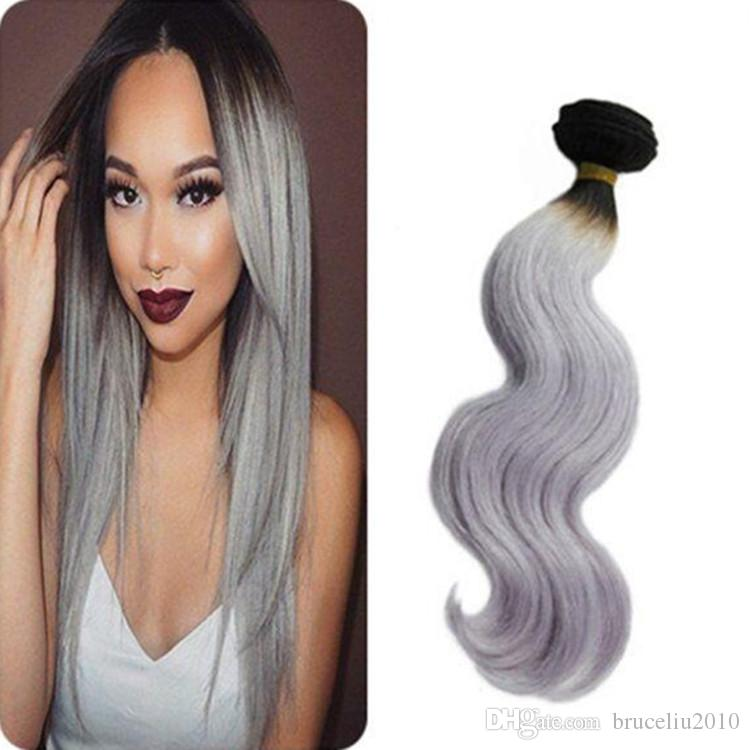 Peruvian human remy hair weave bundle ombre 1b grey color hair see larger image pmusecretfo Choice Image