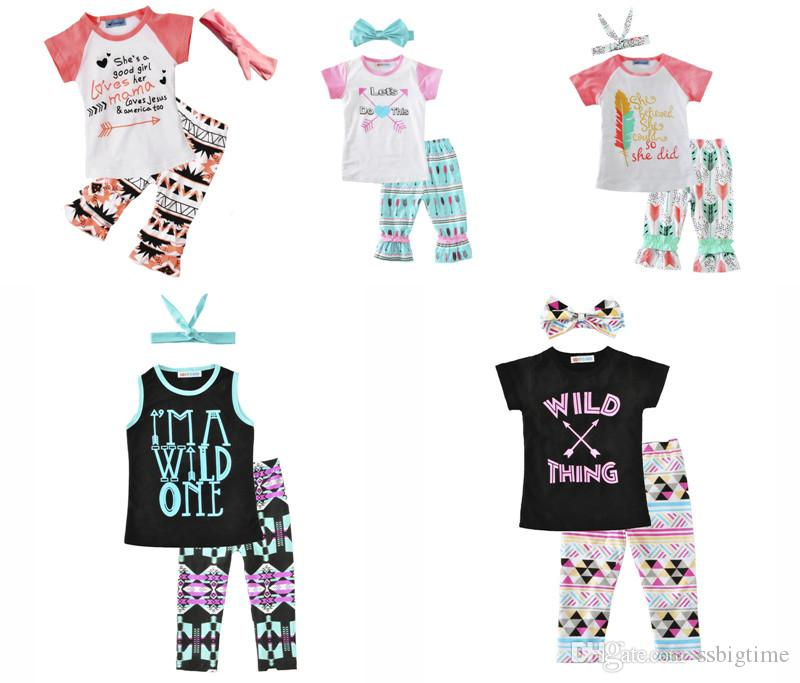 2018 Girls Baby Childrens Clothing Set Letters tshirts Pants Headbands 3Pcs Set Fashion Summer Girl Kids Tops Suits Boutique Clothes Outfits