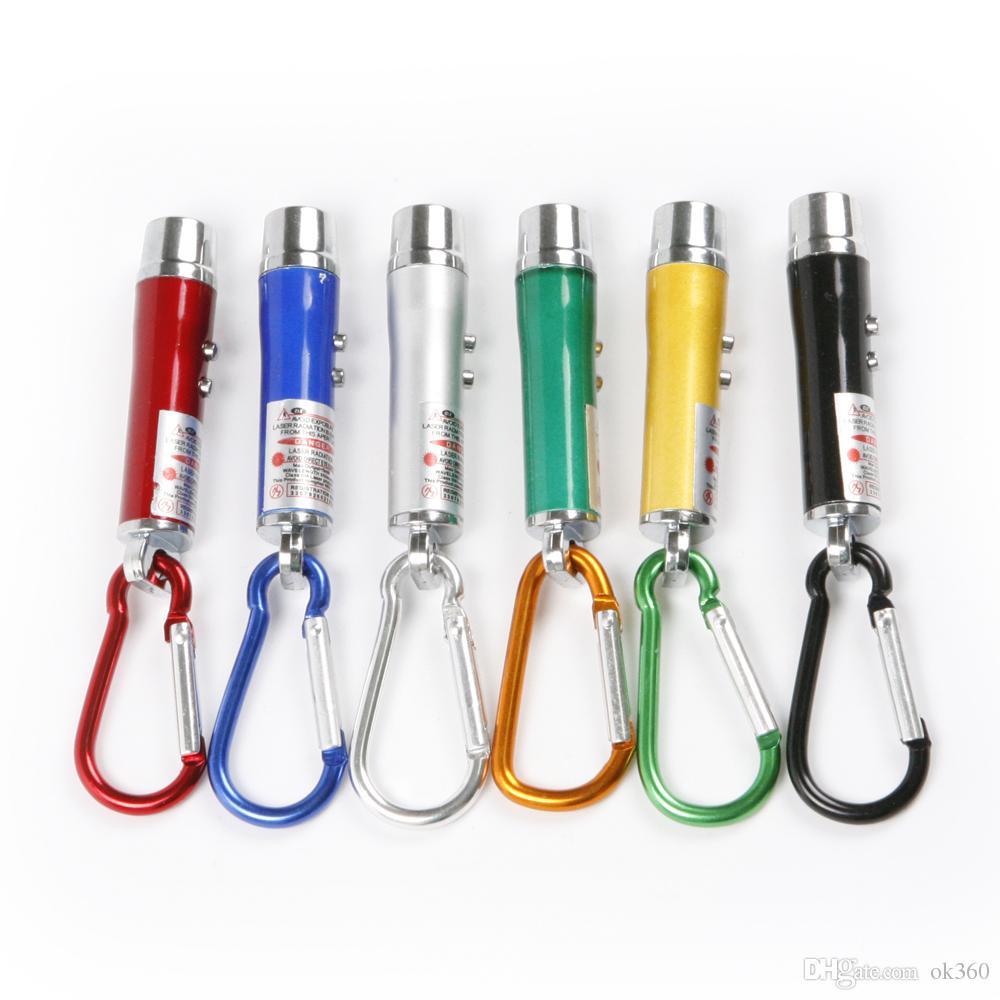 3 en 1 mini láser puntero de la pluma linterna LED luz de la antorcha UV con llavero de trabajo de camping bolígrafo de bolsillo para el trabajo de camping