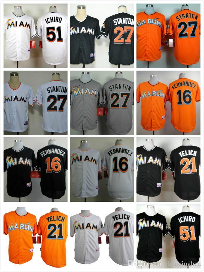 dd9c61e56da ... Miami Marlins Jerseys 27 Giancarlo Stanton 16 Jose Fernandez 21  Christian Yelich 51 Ichiro Suzuki Cool ...