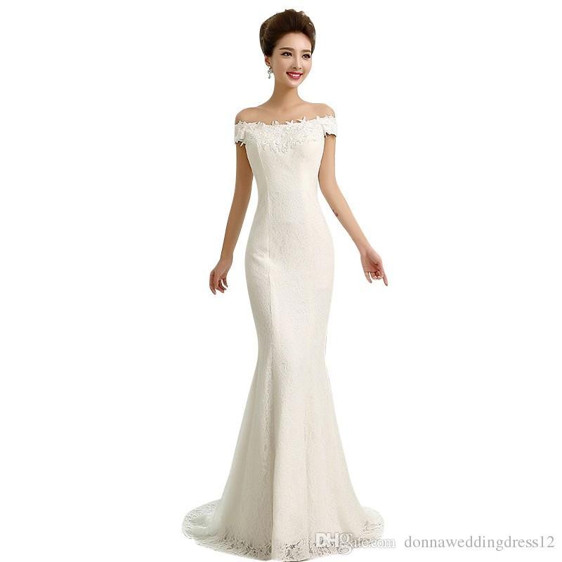 a02357c924d5 Acquista Vendita Calda Semplice Pizzo Abiti Da Sposa Elegante Sirena Spalle  Appliques In Rilievo Rosso Bianco Abito Da Sposa Vestido De Noiva Robe De  ...