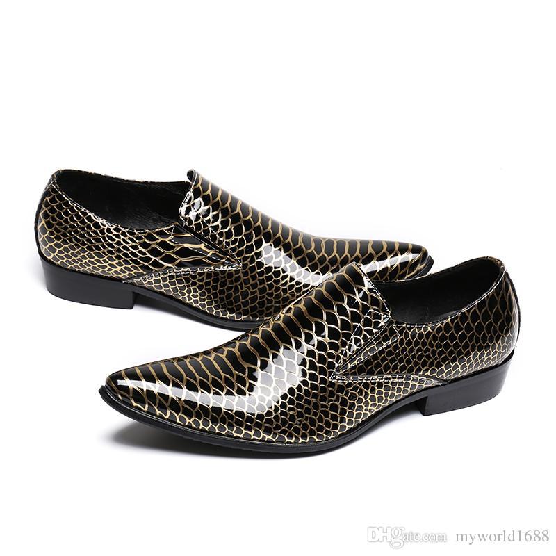 Змеиная кожа Мужская классическая обувь Неглубокие формальные туфли-лодочки Suqare с острым носом Zapatillas Hombre Bright Chaussure Homme
