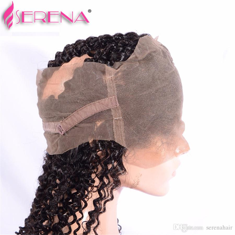 Malaysian 360 Curly Lace Front Front avec Bundles Blanchi Noeuds Afro Kinky Curly Avec 360 Full Lace Band Fermeture Jerry Curl