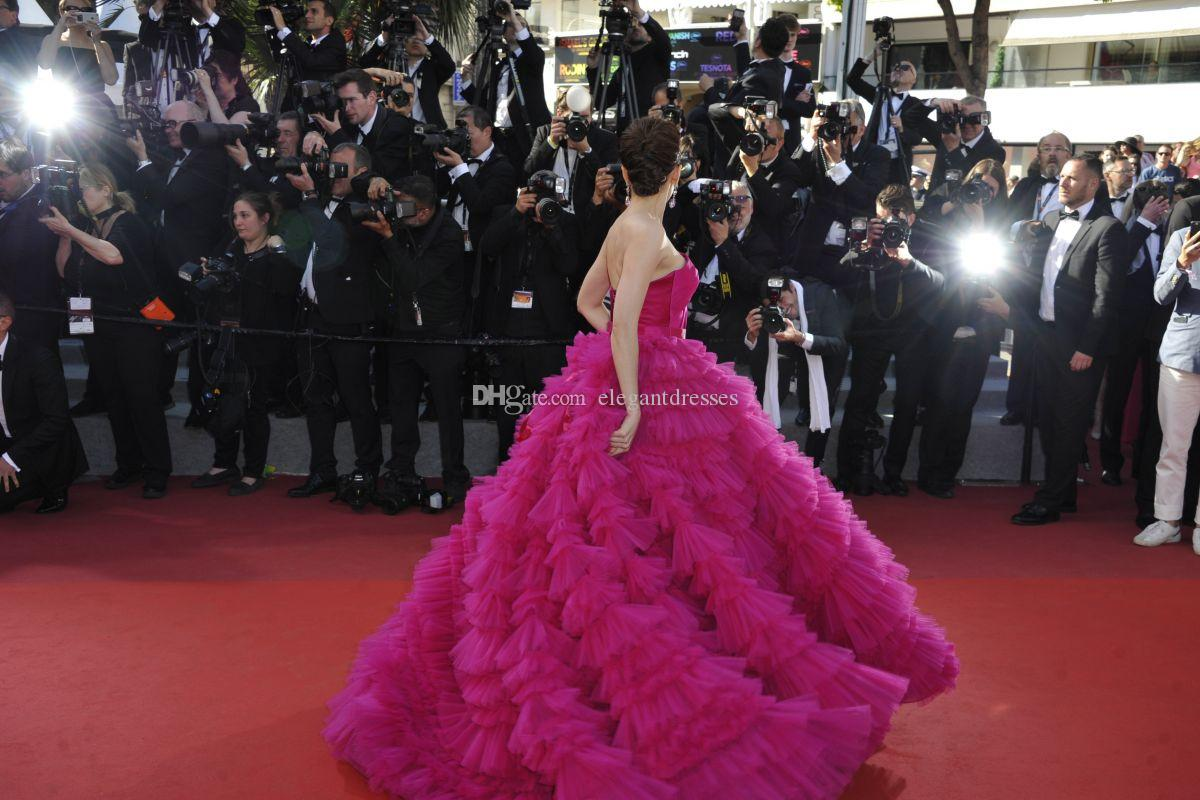 Custom Made Araya Hargate Fucsia One-spalla Backless Principessa Ball Gown Prom Dress 2017 Cannes Festival Festival Abiti celebrità