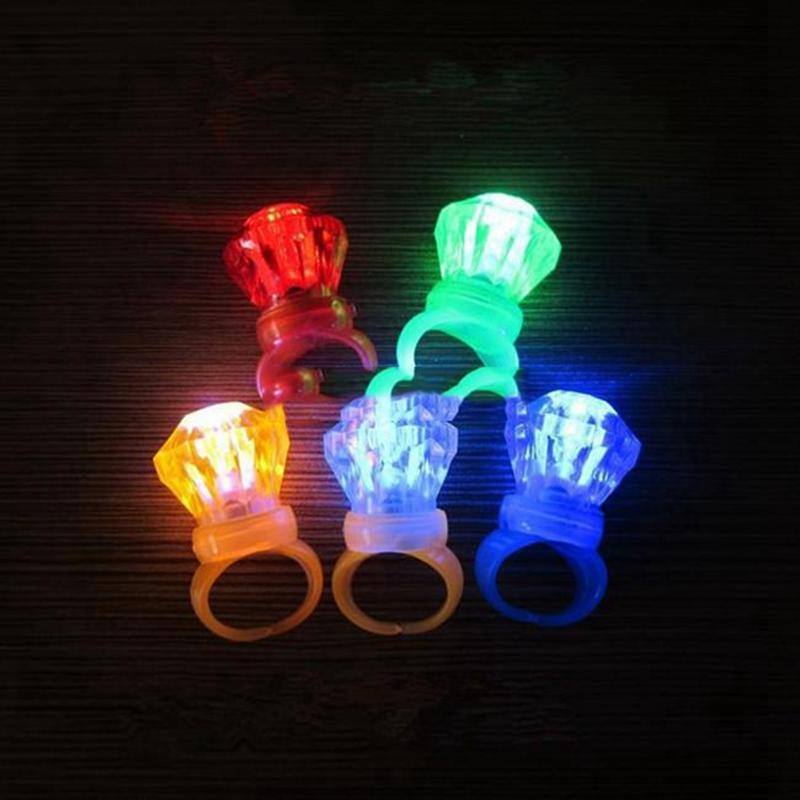 Edison2011 diamante grande LED anello di barretta di cristallo luce LED lampeggiante colori della miscela Halloween Christmas Festival Kid Light-Up Toy
