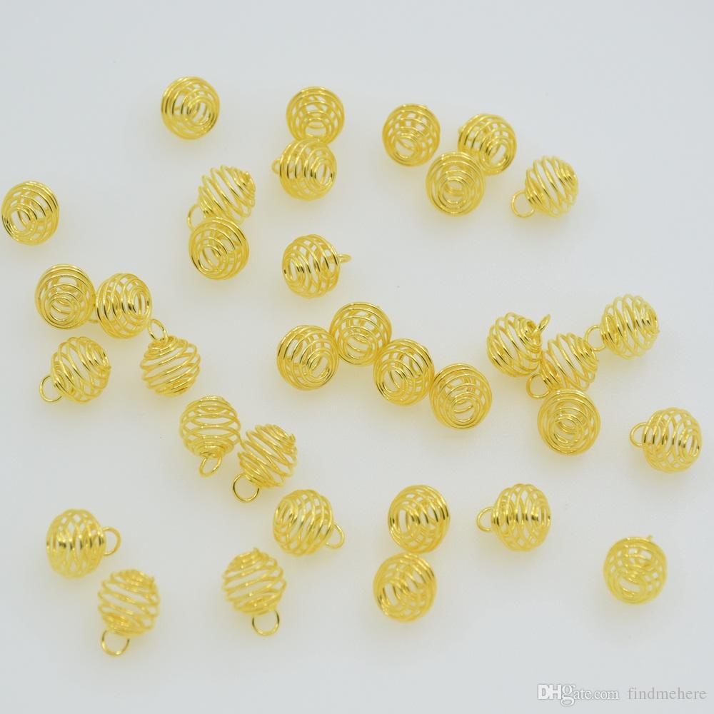 Wholesale Price - Metal Spiral Bead Cages Pendants Findings 8mm Jewellery Making DIY Finding