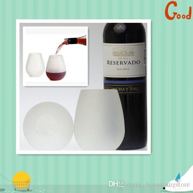 In stock!!! colourful Rubber Wine Glass Unbreakable Clear silica gel Water Cup silicone wine glass silicone wine cup