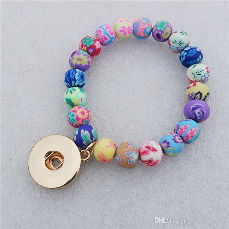 Fashion Kids Girls 15CM Length Multicolor Clay Beads Noosa Chunks Metal Ginger 18mm Snap Button Charm Bracelet Jewelry Wholesale
