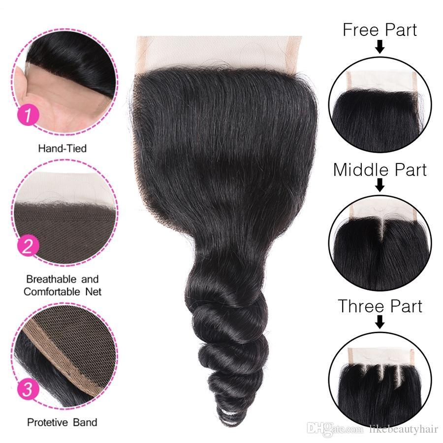 Lace Closure Loose Wave Mongolian Virgin Human Hair 4x4 Lace Closure Unprocessed Natural Human Hair Loose Wave Closure Natural Color