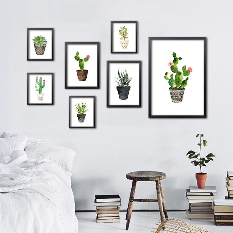 Großhandel Nordic Aquarell Saftig Grünpflanze Leinwand Kunstdruck ...
