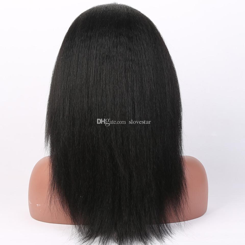 Italian Yaki African American Full Lace Human Hair Wigs Best Glueless Brazilian Virgin Kinky Straight Lace Front Wigs
