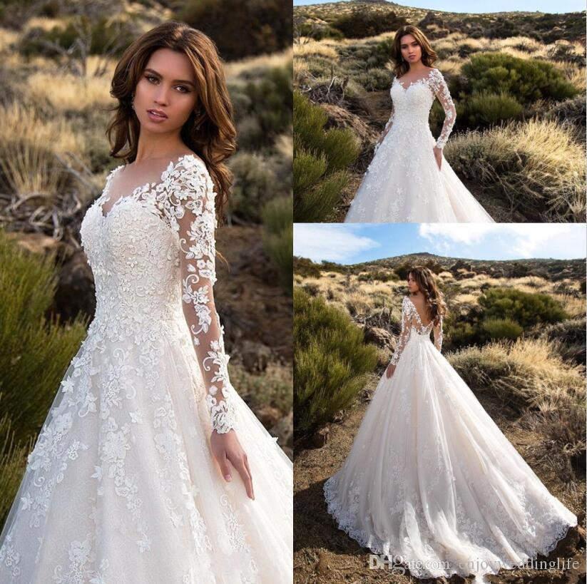 Discount 2017 Gorgeous Ivory Sheer Long Sleeves Wedding Dresses Sexy ...