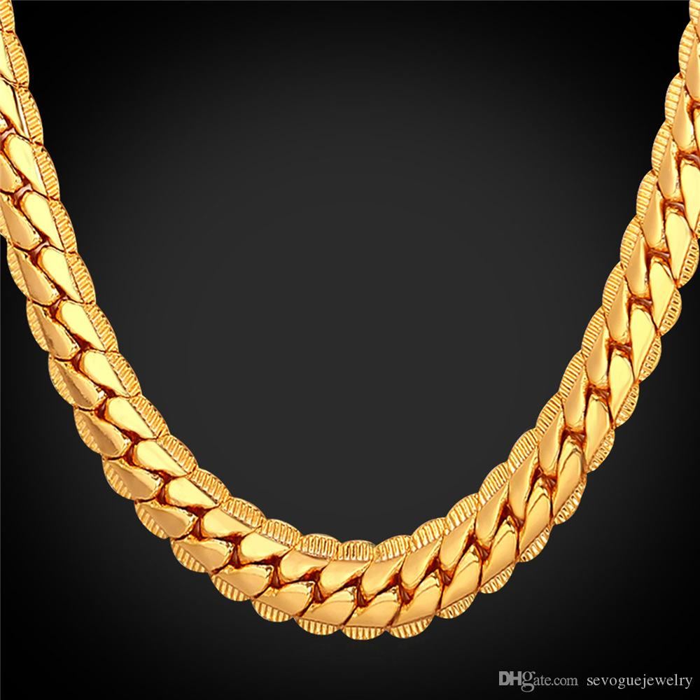 chains trendy real thick men chain necklace new brand for long vintage pin gold plated