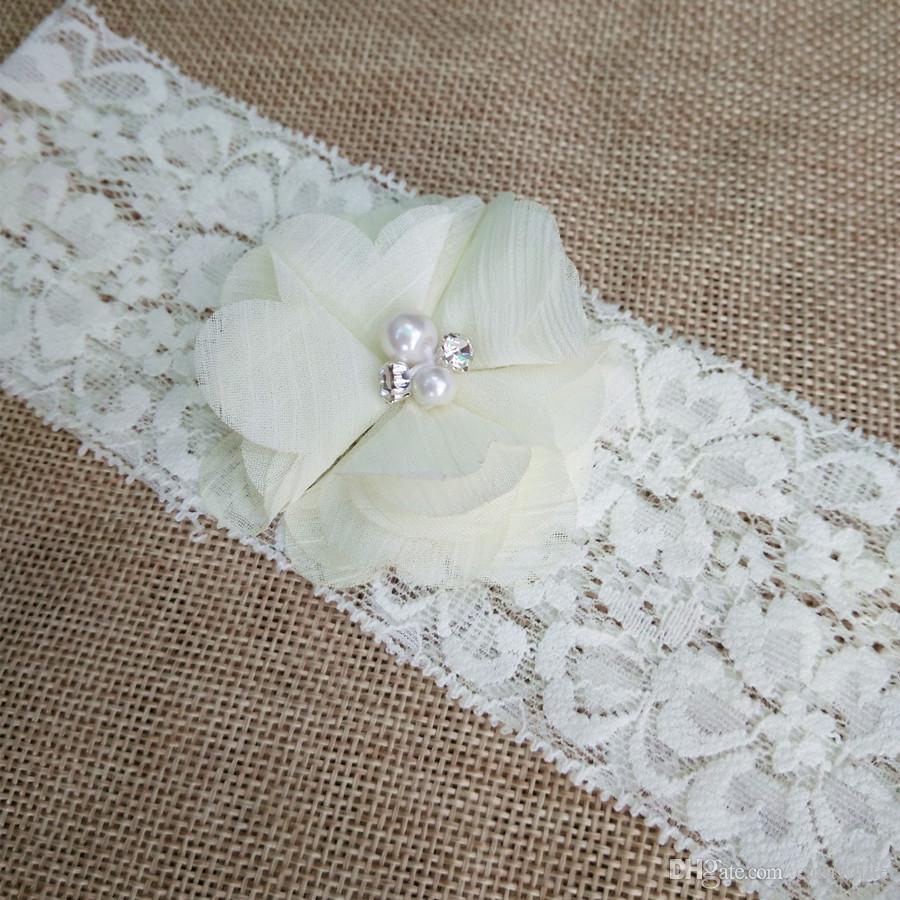 wedding garter Ivory bridal lace chiffon flower toss garter included vintage inspired lace garter