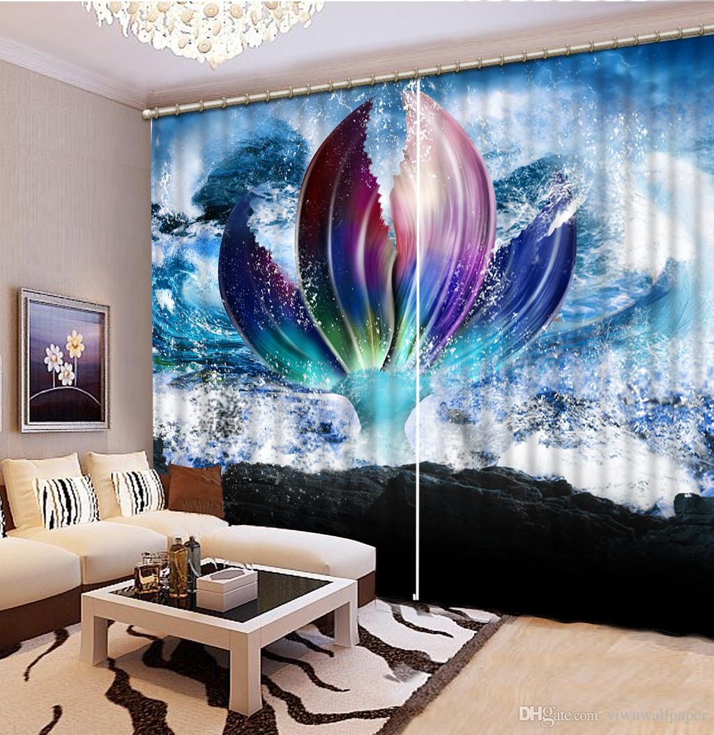 Haute qualité Personnaliser taille moderne rideaux pour salon grand fleur personnalisé rideau