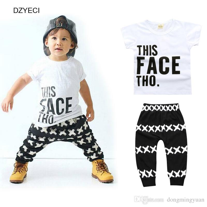 f42c74fe252c Summer Baby Boy Letter Set Clothes Fashion First Birthday Outfits ...