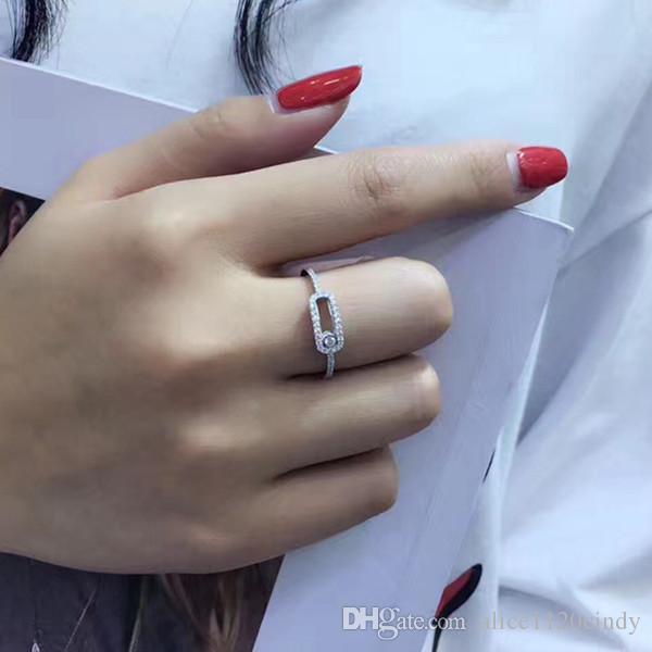 Date la main bijoux en argent Sterling 925, peut déplacer la pierre anneau Design de mode femmes bijoux en argent de haute qualité pour le meilleur cadeau