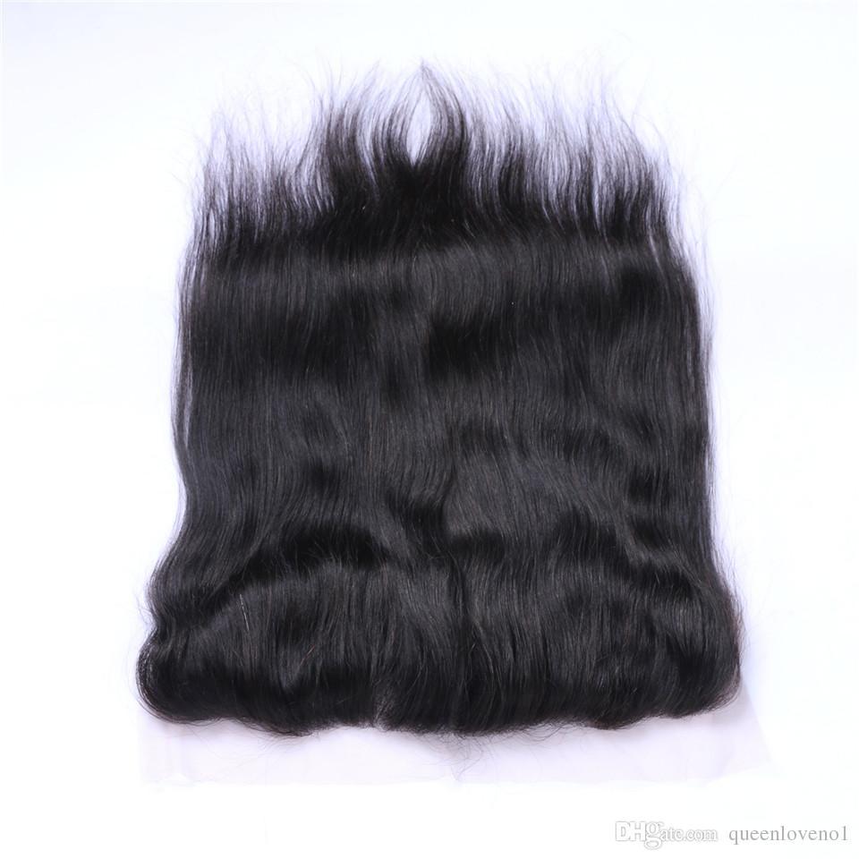 브라질 스트레이트 13x4 레이스 정면 클로저 무료 파트 100 % 말레이시아 인디언 페루 처리되지 않은 버진 Human with Baby hair