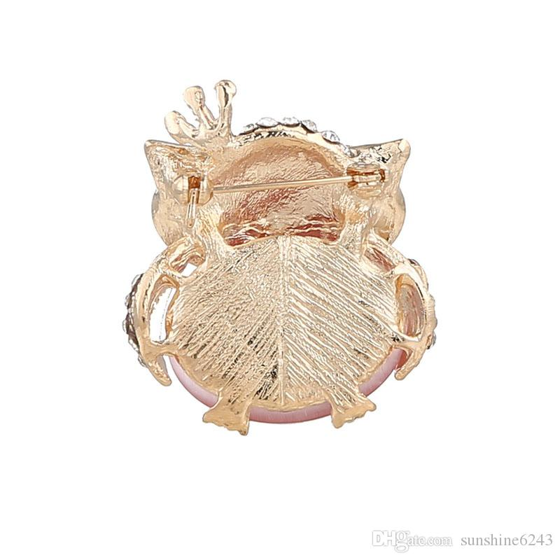 creative new fashion boutique alloy diamond pink brooch cute owl fine jewelry party accessory