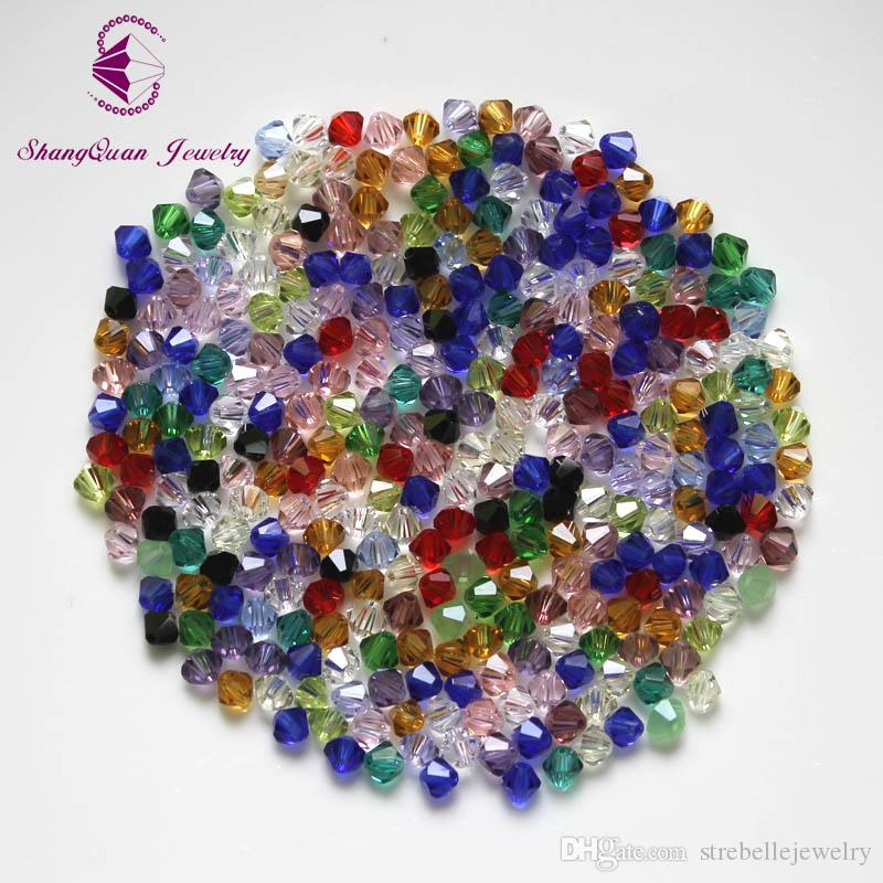 Bicone Beads Crystal / LOTE 4 mm perlas de cristal suelto checo / cuentas de cristal facetado para la joyería de DIY pendientes pulseras