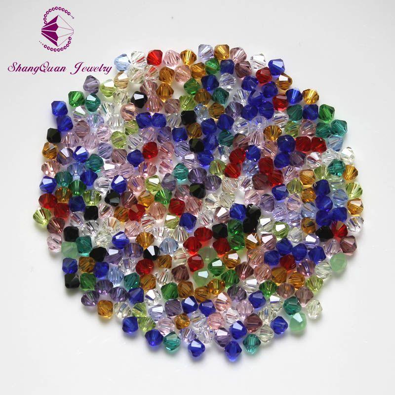Bicone Perlen Kristall 2500 TEILE / LOS 4mm Tschechische Lose Kristall Perlen / Facettierte Glasperlen für DIY Schmuck Ohrringe Armbänder
