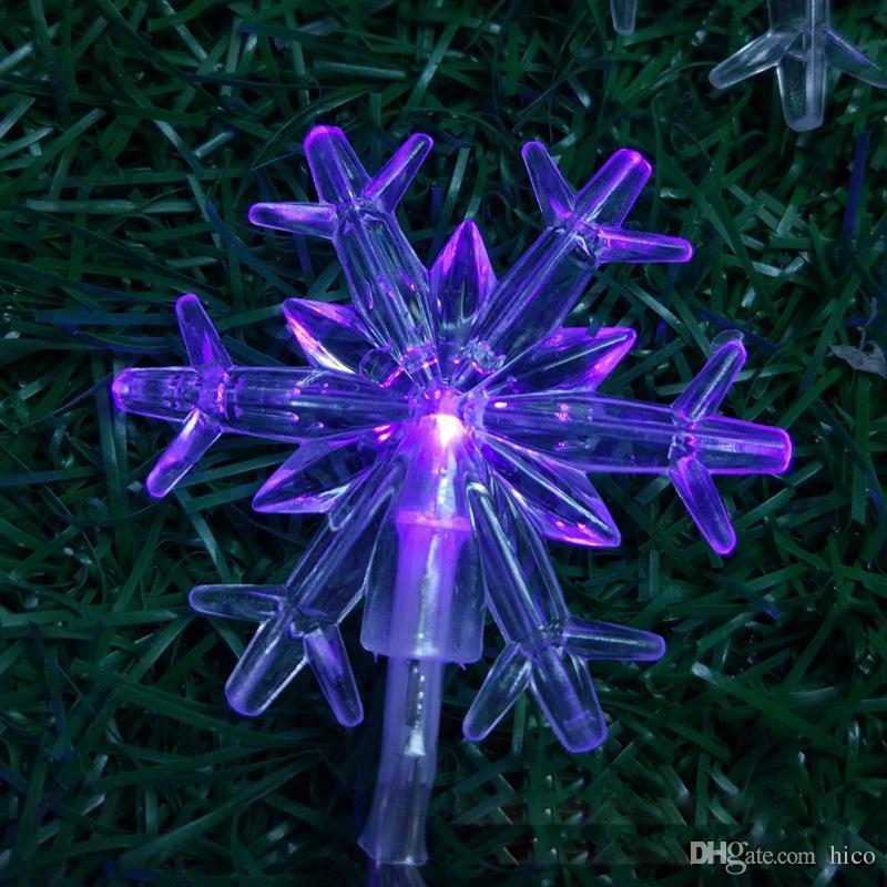スノーフレーククリスマスライト屋外LEDクリスマスライトクランプLEDストリップ照明2M 20leDバッテリー操作クリスマスライト