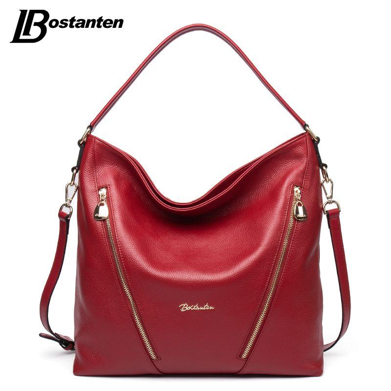 1076aec18b Wholesale- BOSTANTEN Genuine Leather Women Shoulder Bag Brand ...