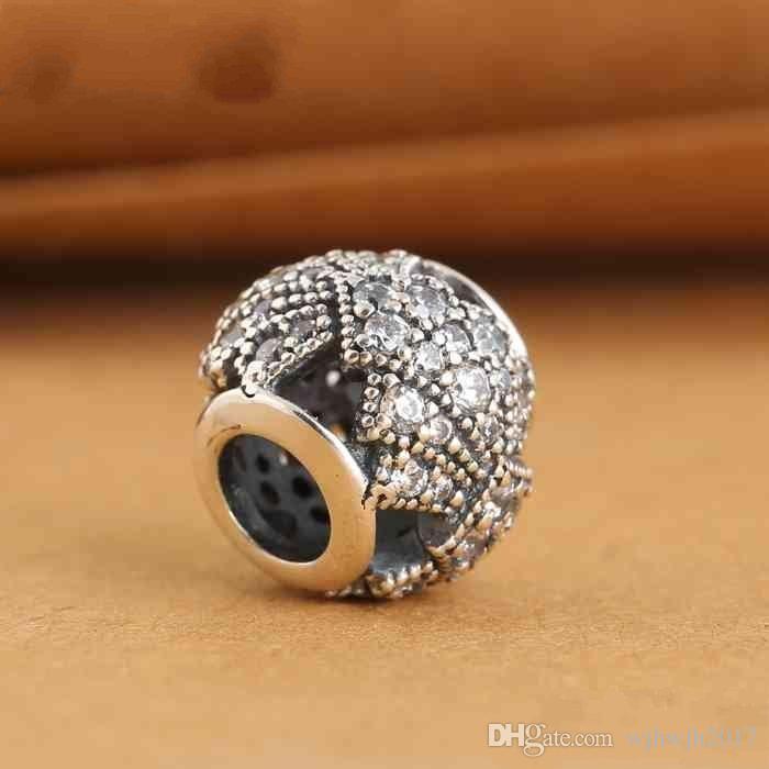 Fits European Beads Bracelets DIY Clear Crystal Pave Oriental Fan Charms Beads Original 925 Sterling Silver Fine Jewelry For Women