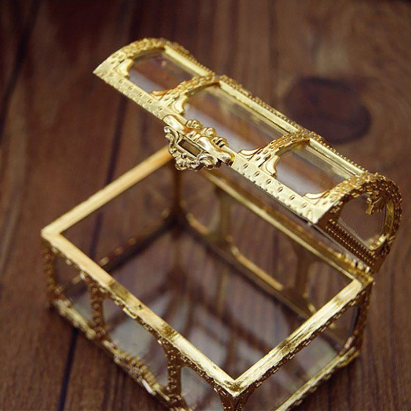 Caixa de doces Presente Caixa de Tesouro de Luxo de Plástico Transparente de Ouro para Festa de Casamento de Natal do Dia Das Bruxas Top Grade Frete Grátis
