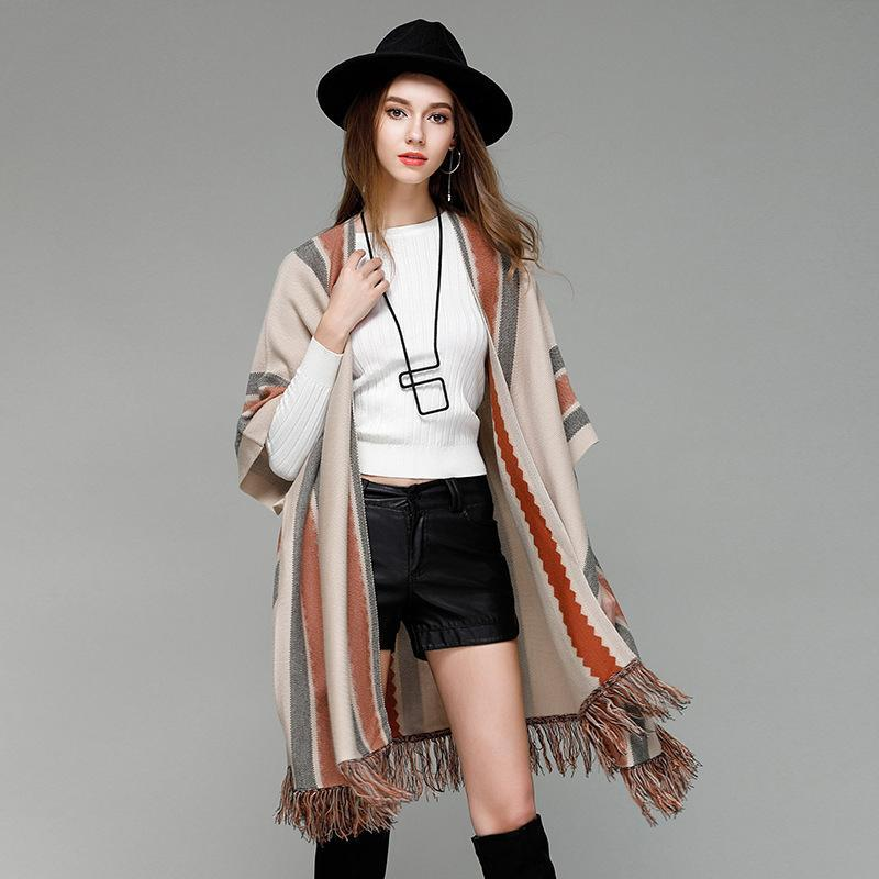 Autumn Women Sweater Tassel Striped Cardigan 2017 Open Stitch Slim ... fa684f3a1