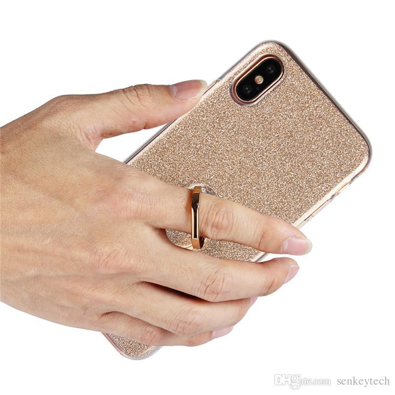 Estuche brillante con brillo para iphone 8 7 6 plus funda con soporte de anillo Funda de TPU suave Coque para Samsung S8 S7 S6 borde Funda con tapa para teléfono